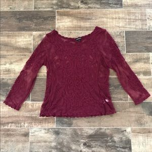 Express Maroon Lace 3/4 sleeve Top